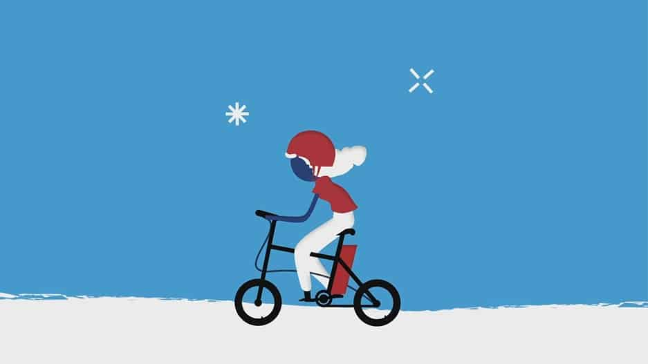 אנימציה של נערה רוכבת על אופניים חשמליים
