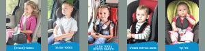 מגוון שלח ילדים עם סוגים שונים של מושבי בטיחות