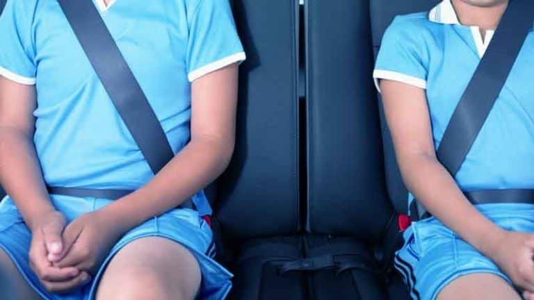 שני ילדים יושבים במושב האחורי של הרכב עם חגורות בטיחות