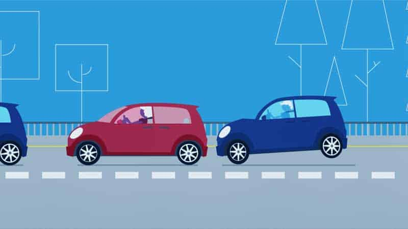 אנימציה של שתי מכוניות בהתנגשות קלה