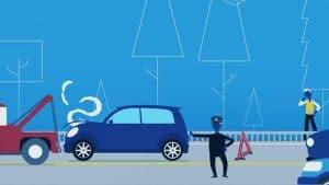 אנימציה של שוטר עוצר תנועה כשגרר אוסף רכב מתאונה