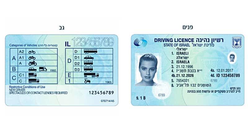 תמונה של כרטיס רישיון נהיגה